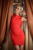 Mulher que está a janela próxima Foto de Stock Royalty Free