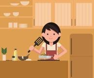 Mulher que está pelo fogão na cozinha, cozinhando Cozinheiro do cozinheiro chefe ilustração do vetor