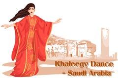 Mulher que executa a dança de Khaleegy de Arábia Saudita Foto de Stock Royalty Free