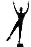 Mulher que exercita o aerobics da etapa Fotos de Stock Royalty Free
