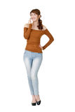 Mulher que fala com telemóvel Foto de Stock Royalty Free