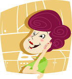 Mulher que fala no telefone Fotografia de Stock