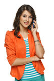Mulher que fala no telemóvel foto de stock royalty free