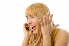 Mulher que fala no telemóvel Fotos de Stock Royalty Free