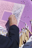Mulher que faz Bobbin Lace Imagem de Stock Royalty Free