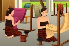 Mulher que faz o Batik Foto de Stock Royalty Free