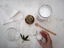 Mulher que faz o desodorizante caseiro do vegetariano com os ingredientes tais como o óleo de coco e o bicarbonato de sódio que fotos de stock