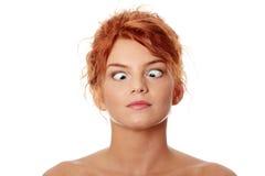 Mulher que faz o estrabismo Fotos de Stock Royalty Free