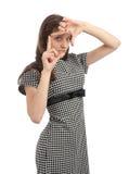 Mulher que faz o gesto do viewfinder imagens de stock royalty free