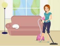 Mulher que faz o housework Imagens de Stock Royalty Free