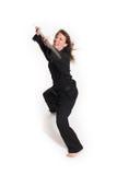 Mulher que faz o karaté fotografia de stock