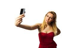 Mulher que faz o selfie Fotografia de Stock