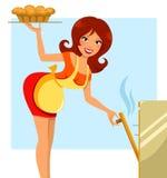 Mulher que faz a torta ilustração do vetor