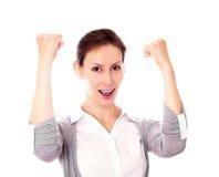 Mulher que gesticula o sucesso Fotos de Stock Royalty Free
