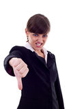 Mulher que gesticula os polegares para baixo Imagem de Stock Royalty Free