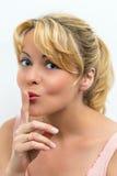 Mulher que gesticula para o silêncio Imagem de Stock