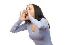 Mulher que grita para fora ruidosamente fotos de stock