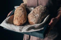 mulher que guarda a caixa de madeira com os loafs de pão nas mãos isoladas no preto Fotografia de Stock