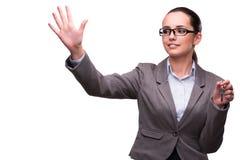 A mulher que guarda chaves no conceito dos bens imobiliários Imagens de Stock Royalty Free