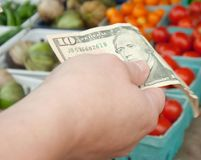 Mulher que guarda a conta $10 no mercado do ` s do fazendeiro Fotografia de Stock Royalty Free