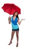 Mulher que guarda o guarda-chuva Fotografia de Stock Royalty Free