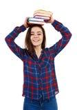 Mulher que guarda o livro Fotos de Stock Royalty Free