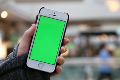 Mulher que guarda o telefone de tela verde com os povos do borrão que têm o jantar foto de stock