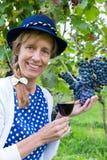 Mulher que guarda o vidro do vinho perto do grupo de uvas azuis Fotografia de Stock