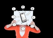 Mulher que guarda um cartaz com ícones do telefone celular e da aplicação em sua cara Fotos de Stock Royalty Free