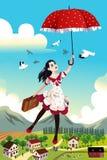 Mulher que guarda um voo do guarda-chuva no ar Imagem de Stock
