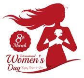 Mulher que guarda uma Rosa com suas mãos na comemoração do dia das mulheres, ilustração do vetor ilustração do vetor