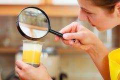 Mulher que inspeciona o alimento com lupa Imagens de Stock Royalty Free
