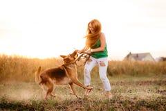Mulher que joga com o cão fotografia de stock
