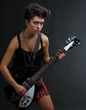 Mulher que joga a guitarra Foto de Stock Royalty Free