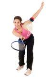 Mulher que joga o badminton Imagem de Stock