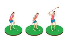 Mulher que joga o golfe, ilustração isométrica do vetor 3d Fases do balanço do golfe, elementos isolados do projeto ilustração royalty free