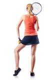 Mulher que joga o tênis Imagens de Stock