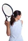 Mulher que joga o tênis isolado fotografia de stock royalty free