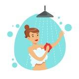 Mulher que lava-se com a esponja no chuveiro, parte dos povos no banheiro que faz seus procedimentos rotineiros da higiene ilustração stock
