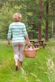 Mulher que leva uma cesta do piquenique fotos de stock royalty free