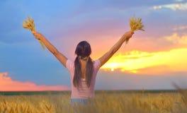 Mulher que levanta as mãos ao admirar um por do sol bonito fotos de stock