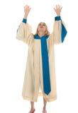 Mulher que levanta as mãos no elogio fotografia de stock royalty free