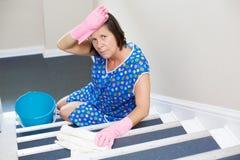 Mulher que limpa o stiarcase Foto de Stock