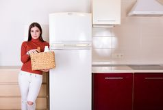 Mulher que limpa sua cozinha Imagens de Stock Royalty Free