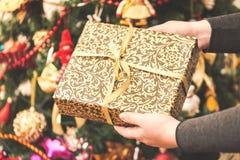 Mulher que mantém uma caixa de presente grande contra o fundo de surpresa da árvore de Natal Foco tonificado e seletivo fotos de stock royalty free