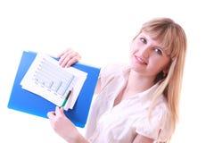 Mulher que mostra a carta positiva Fotografia de Stock Royalty Free
