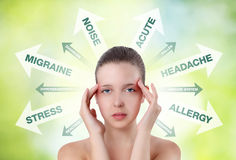 Mulher que mostra a dor na cabeça com gráfico da informação Foto de Stock