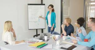 Mulher que mostra gráficos para colegas de trabalho Imagens de Stock