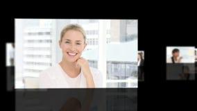 Mulher que mostra a liderança em um ambiente empresarial filme