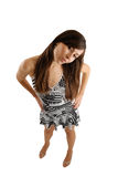 Mulher que mostra o interesse, perspectiva pessoal Fotografia de Stock